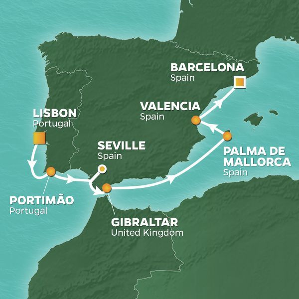Azamara Cruises | 9-Nights from Lisbon to Barcelona Cruise Iinerary Map