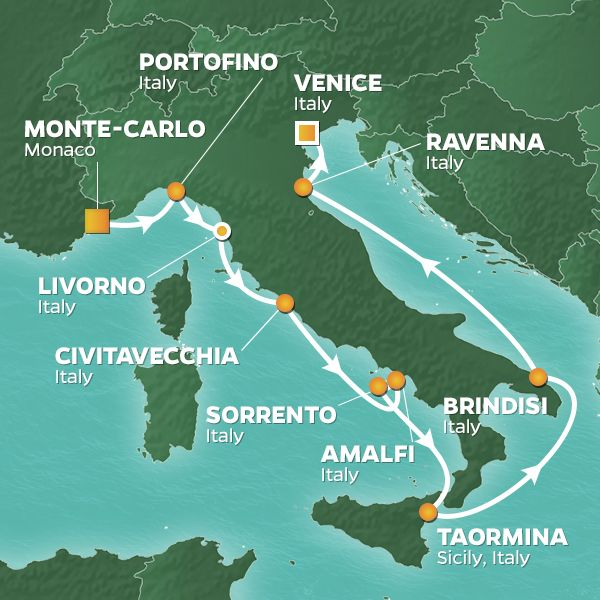 Azamara Cruises | 12-Nights from Monte-Carlo to Venice Cruise Iinerary Map