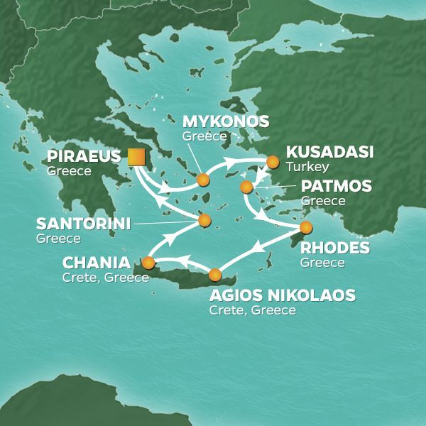 Azamara Cruises | 8-Nights Roundtrip from Athens Cruise Iinerary Map