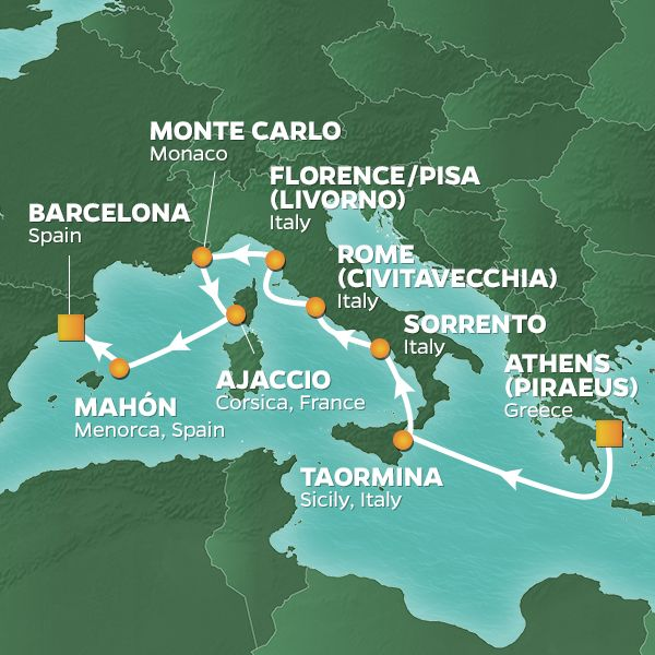 Azamara Cruises | 7-Nights from Athens to Rome Cruise Iinerary Map