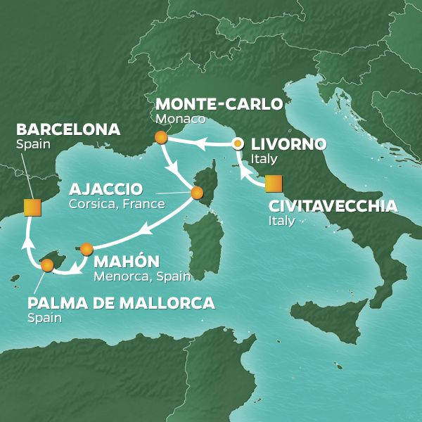 Azamara Cruises | 7-Nights from Rome to Barcelona Cruise Iinerary Map