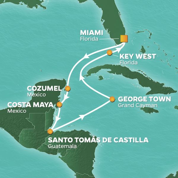Azamara Cruises | 9-Nights Roundtrip from Miami Cruise Iinerary Map
