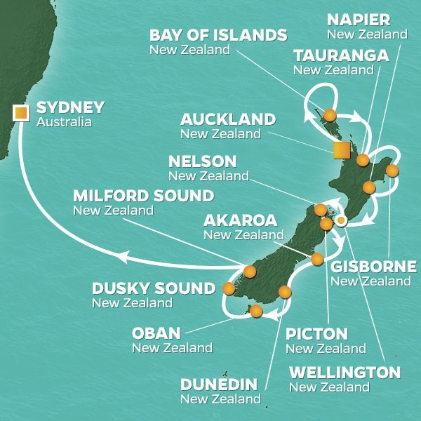Azamara Cruises | 16-Nights from Auckland to Sydney Cruise Iinerary Map