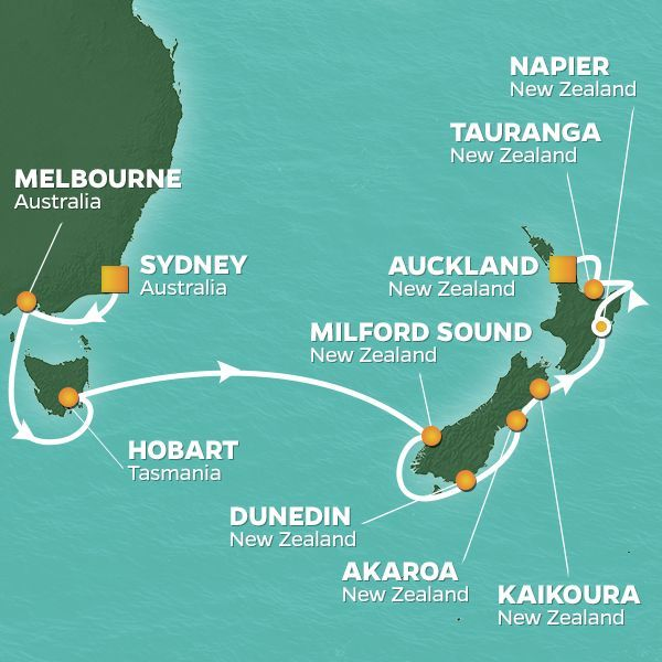Azamara Cruises | 14-Nights from Sydney to Auckland Cruise Iinerary Map