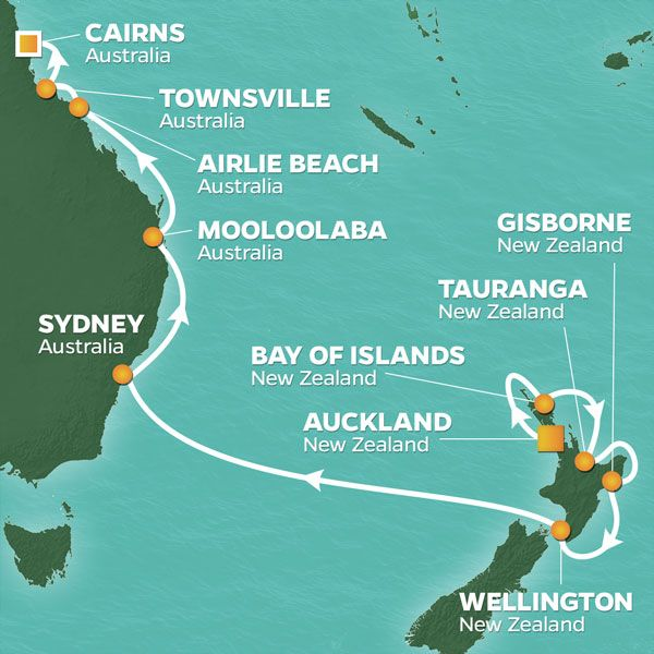 Azamara Cruises | 15-Nights from Auckland to Cairns Cruise Iinerary Map