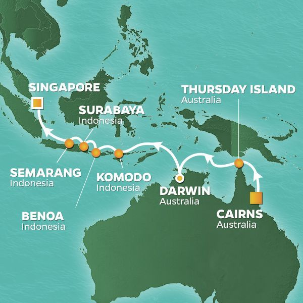 Azamara Cruises | 14-Nights from Cairns to Singapore Cruise Iinerary Map