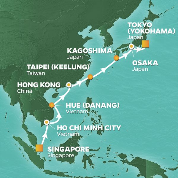 Azamara Cruises | 16-Nights from Singapore to Tokyo Cruise Iinerary Map