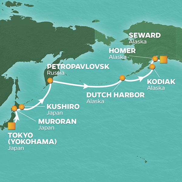 Azamara Cruises | 13-Nights from Tokyo to Seward Cruise Iinerary Map
