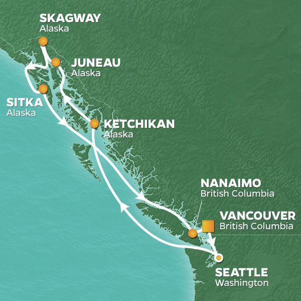 Azamara Cruises | 10-Nights Roundtrip from Vancouver Cruise Iinerary Map