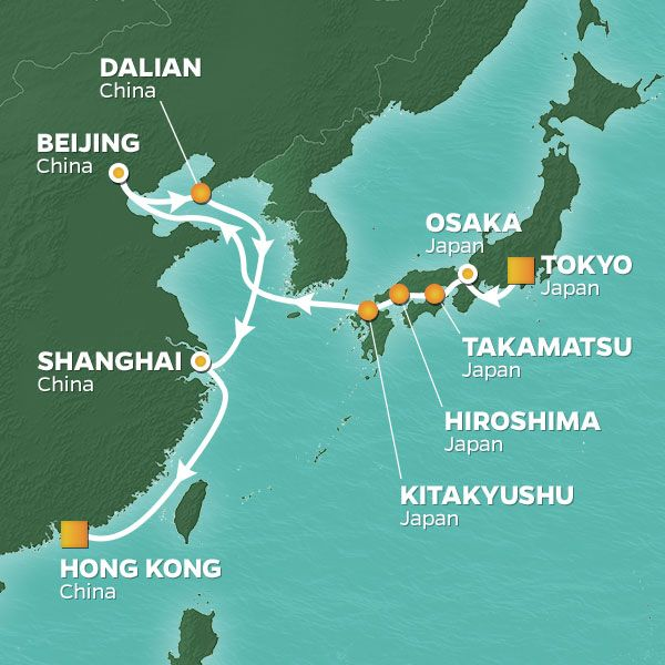 Azamara Cruises | 16-Nights from Tokyo to Hong Kong Cruise Iinerary Map