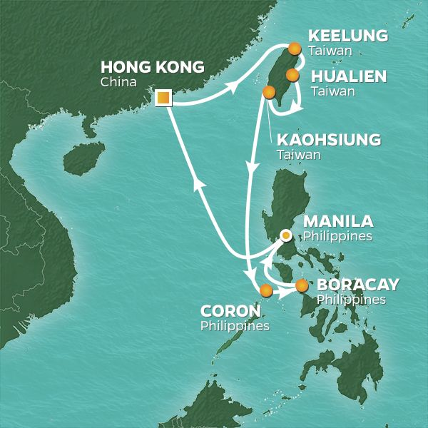 Azamara Cruises | 12-Nights Roundtrip from Hong Kong Cruise Iinerary Map