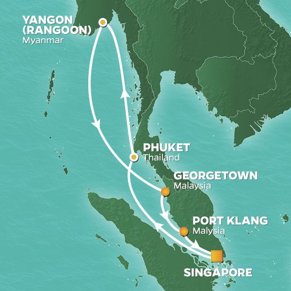 Azamara Cruises | 12-Nights Roundtrip from Singapore Cruise Iinerary Map