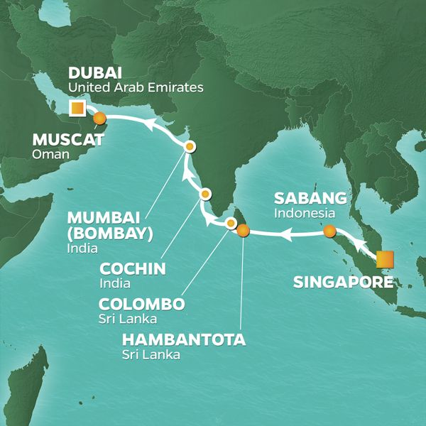Azamara Cruises | 17-Nights from Singapore to Dubai Cruise Iinerary Map