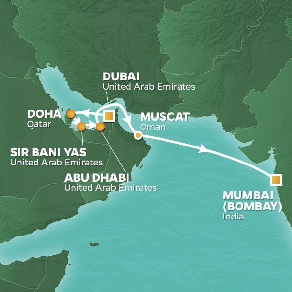 Azamara Cruises | 11-Nights from Dubai to Mumbai Cruise Iinerary Map