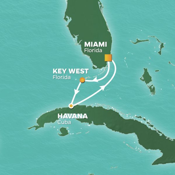 Azamara Cruises | 4-Nights Roundtrip from Miami Cruise Iinerary Map