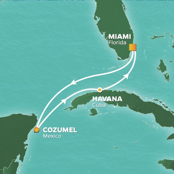 Azamara Cruises | 6-Nights Roundtrip from Miami Cruise Iinerary Map