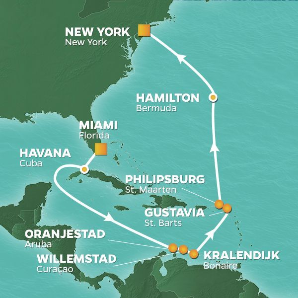 Azamara Cruises | 16-Nights from Miami to New York Cruise Iinerary Map
