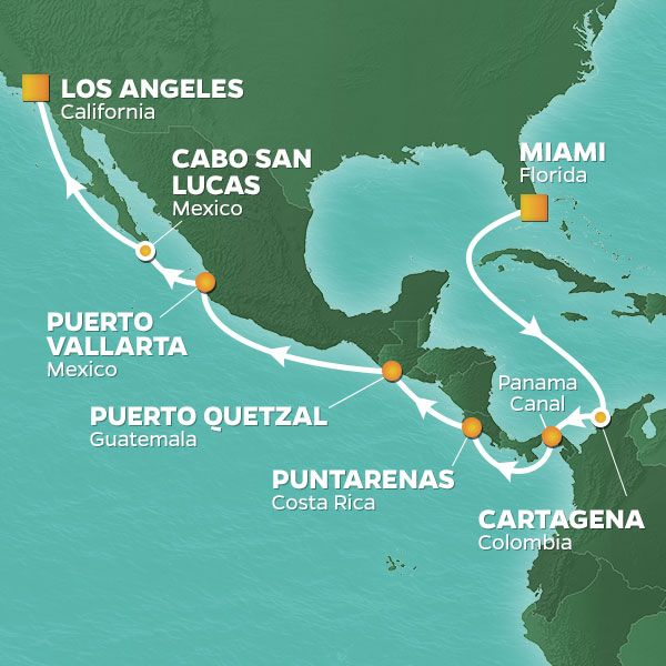 Azamara Cruises | 17-Nights from Miami to Los Angeles Cruise Iinerary Map
