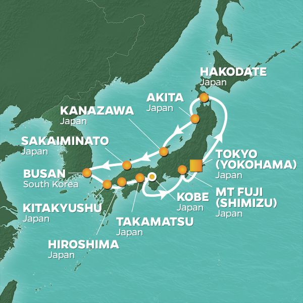 Azamara Cruises | 13-Nights Roundtrip from Tokyo Cruise Iinerary Map