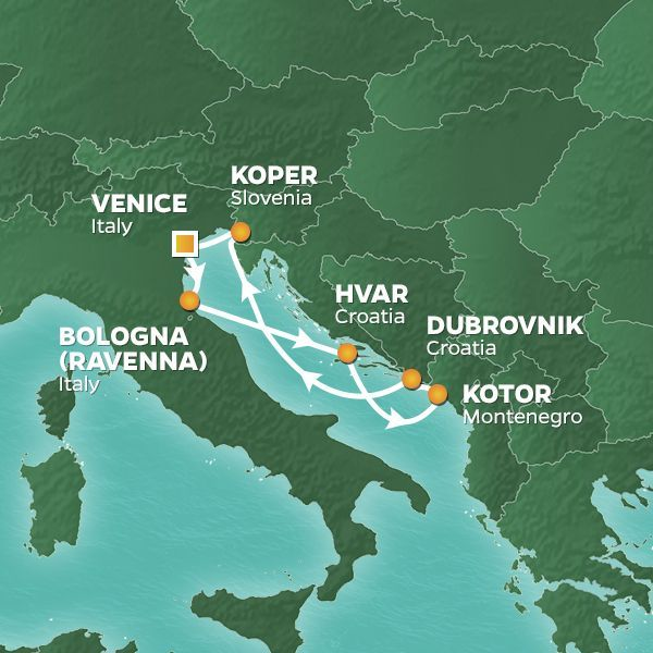 Azamara Cruises | 7-Nights Roundtrip from Venice Cruise Iinerary Map