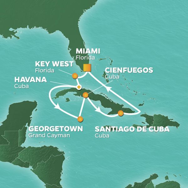 Azamara Cruises | 10-Nights Roundtrip from Miami Cruise Iinerary Map