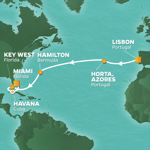 Azamara Cruises | 14-Nights from Lisbon to Miami Cruise Iinerary Map