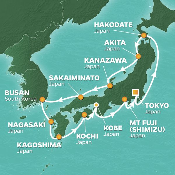Azamara Cruises | 14-Nights Roundtrip from Tokyo Cruise Iinerary Map