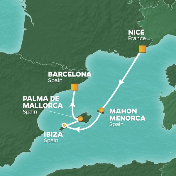 Azamara Cruises | 4-Nights from Nice to Barcelona Cruise Iinerary Map