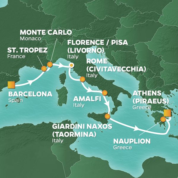 Azamara Cruises | 10-Nights from Barcelona to Athens Cruise Iinerary Map