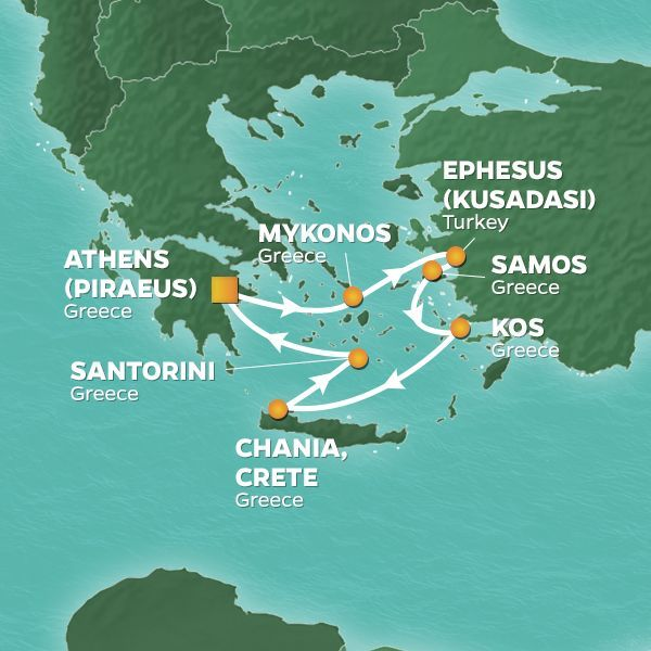 Azamara Cruises | 7-Nights Roundtrip from Athens Cruise Iinerary Map