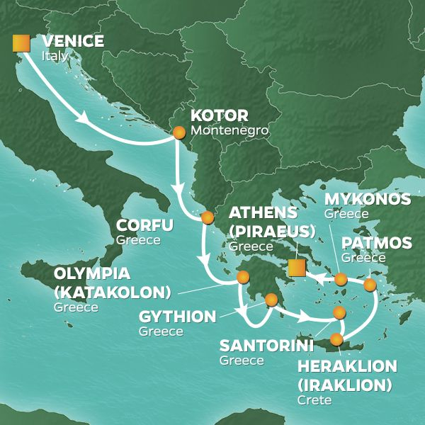 Azamara Cruises | 10-Nights from Venice to Athens Cruise Iinerary Map