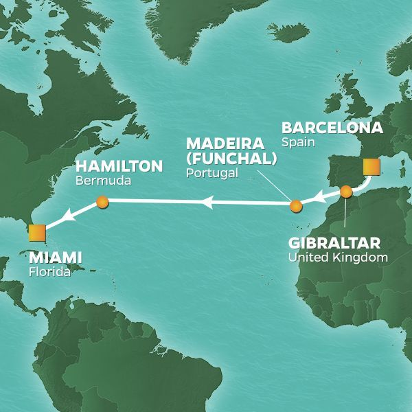 Azamara Cruises | 14-Nights from Barcelona to Miami Cruise Iinerary Map