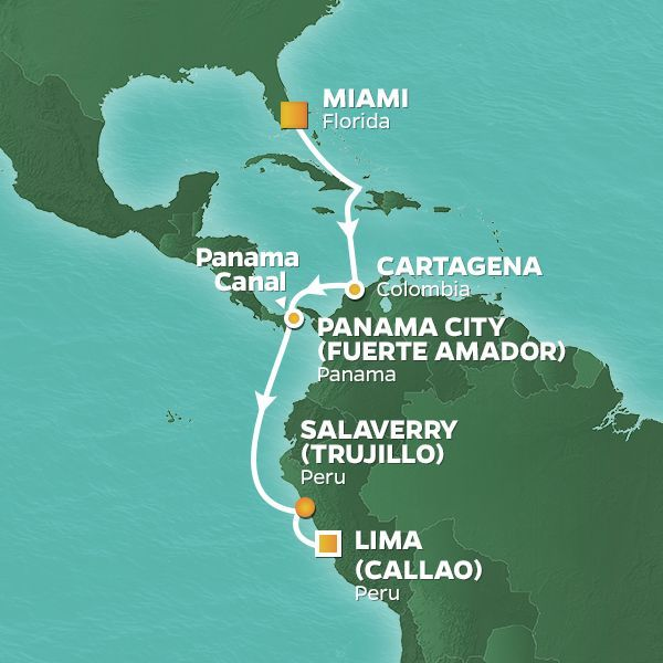 Azamara Cruises | 11-Nights from Miami to Lima Cruise Iinerary Map
