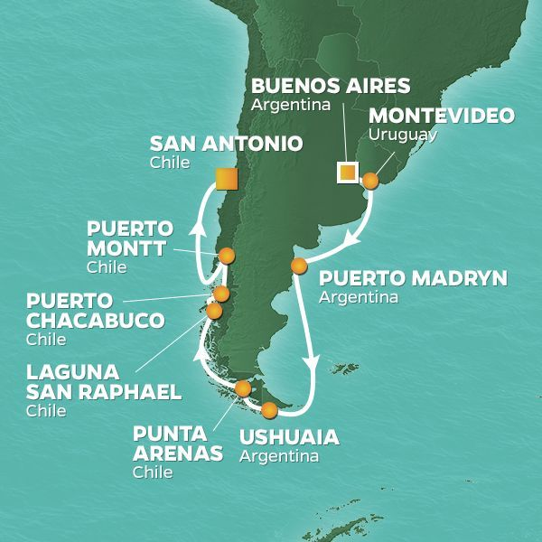 Azamara Cruises | 16-Nights from Buenos Aires to San Antonio, Chile Cruise Iinerary Map