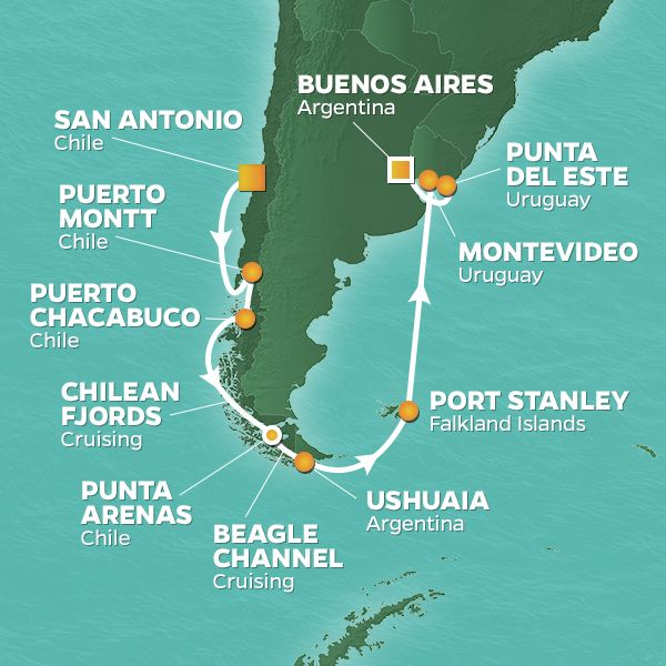 Azamara Cruises | 16-Nights from San Antonio -  chile to Buenos Aires Cruise Iinerary Map
