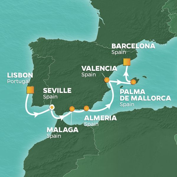 Azamara Cruises | 7-Nights from Lisbon to Barcelona Cruise Iinerary Map