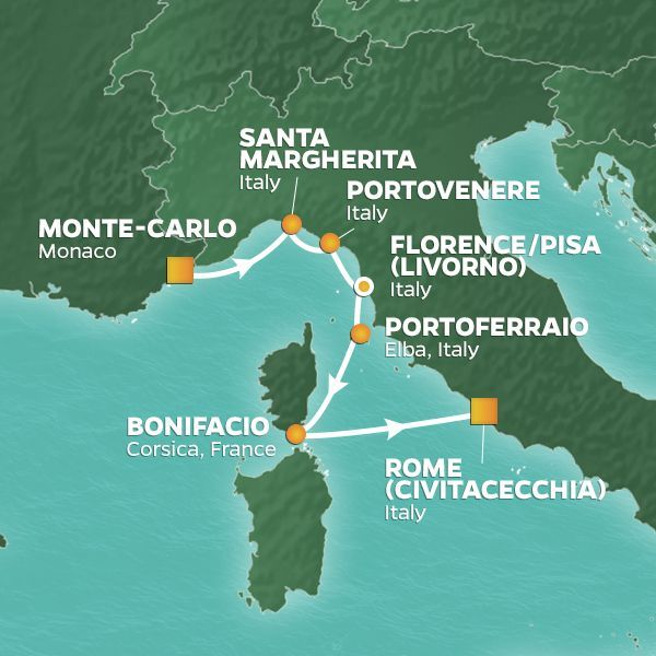 Azamara Cruises | 7-Nights from Monte-Carlo to Rome Cruise Iinerary Map