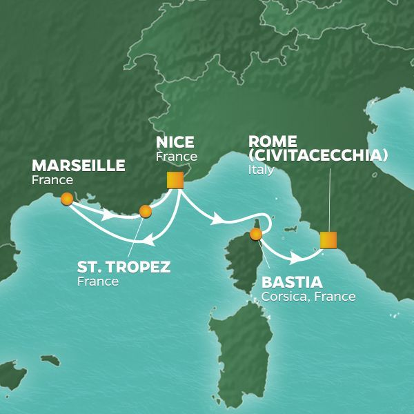 Azamara Cruises | 5-Nights from Nice to Rome Cruise Iinerary Map