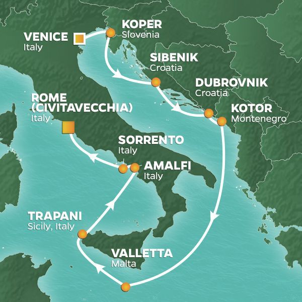 Azamara Cruises | 11-Nights from Venice to Rome Cruise Iinerary Map