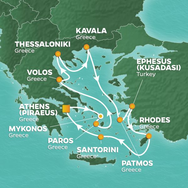 Azamara Cruises | 11-Nights Roundtrip from Athens Cruise Iinerary Map