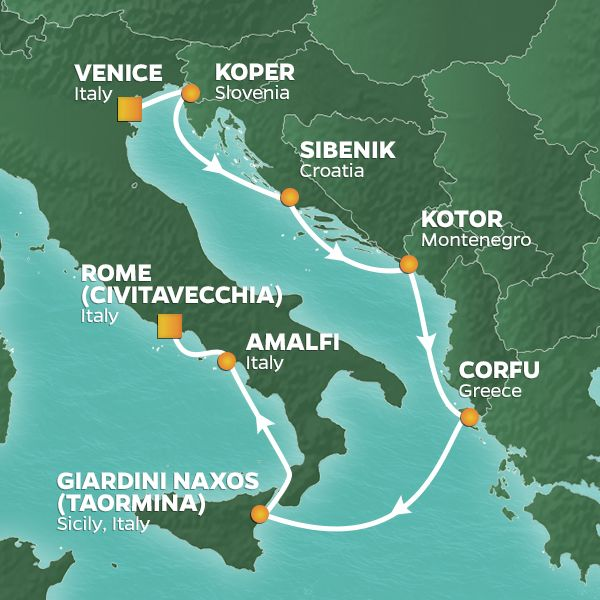 Azamara Cruises | 7-Nights from Venice to Rome Cruise Iinerary Map