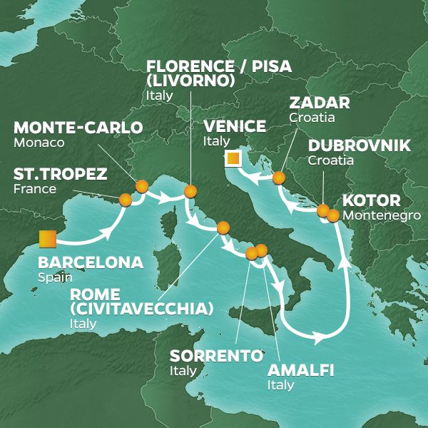 Azamara Cruises | 12-Nights from Barcelona to Venice Cruise Iinerary Map