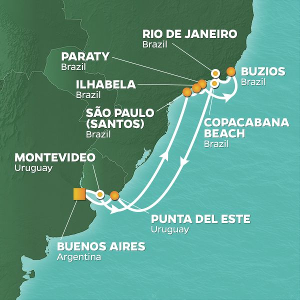 Azamara Cruises | 15-Nights Roundtrip from Buenos Aires Cruise Iinerary Map