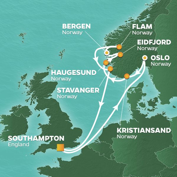 Azamara Cruises | 12-Nights Roundtrip from Southampton Cruise Iinerary Map