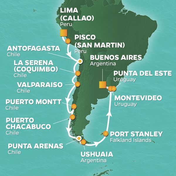 Azamara Cruises | 25-Night South America / Iguazu Falls Land & Sea Package Iinerary Map