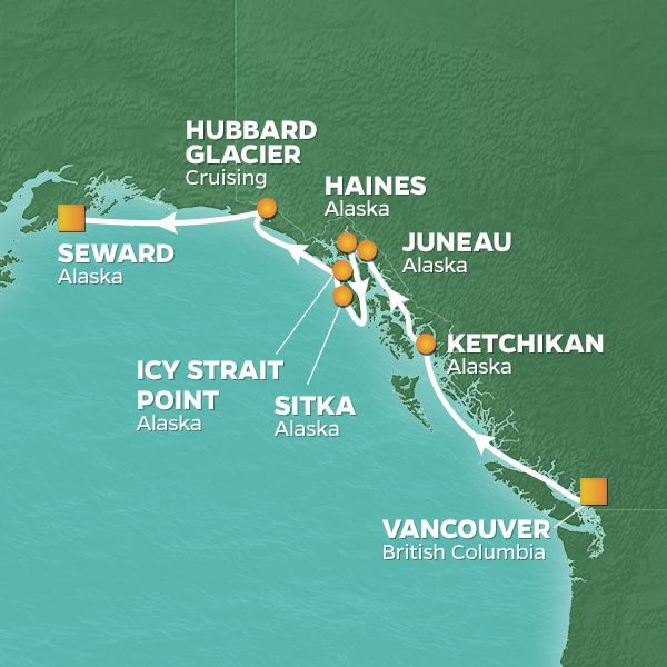 Azamara Cruises | 8-Nights from Vancouver to Seward Cruise Iinerary Map