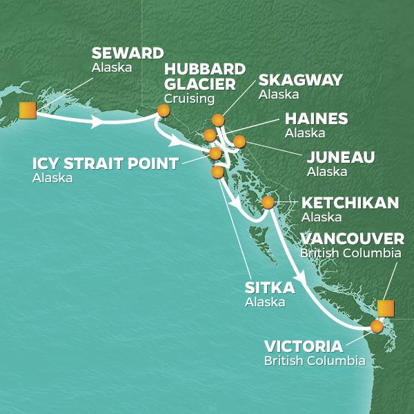 Azamara Cruises | 12-Night Alaska Land & Sea Package Iinerary Map