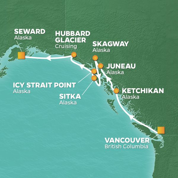 Azamara Cruises | 10-Night Alaska Land & Sea Package Iinerary Map