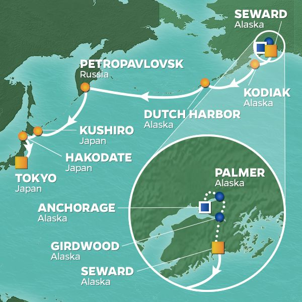 Azamara Cruises | 16-Night Alaska / Japan Land & Sea Package Iinerary Map