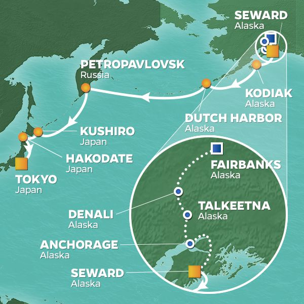 Azamara Cruises | 18-Night Alaska / Japan Land & Sea Package Iinerary Map